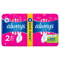 ALWAYS Ultra Super Plus vel.2 Hygienické vložky s křidélky 16ks