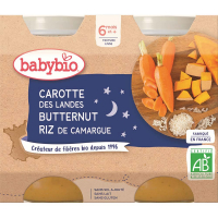 BABYBIO Večerní menu Mrkev s dýní a rýží 2x200 g