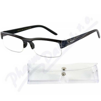 AMERICAN WAY brýle čtecí +2.00 černé s pruhy a pouzdrem