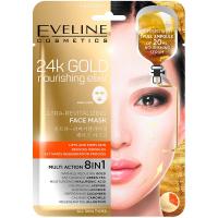 EVELINE 24k Gold Ultra oživující vyživující pleťová textilní maska s 24k zlatem 20 ml