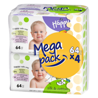 HAPPY Mega Pack Čistící vlhčené ubrousky Hedvábí&Bavlna 4x64ks 256 ks