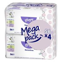 HAPPY Mega Pack Čistící vlhčené ubrousky Sensitive 56x4ks 224 ks