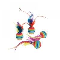 FLAMINGO Duhové míčky s pérky pro kočky 4 ks