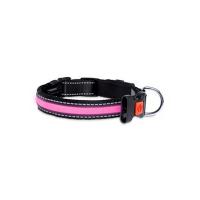 KARLIE FLAMINGO LED nylonový obojek pro psy s USB nabíjením růžový  66 cm
