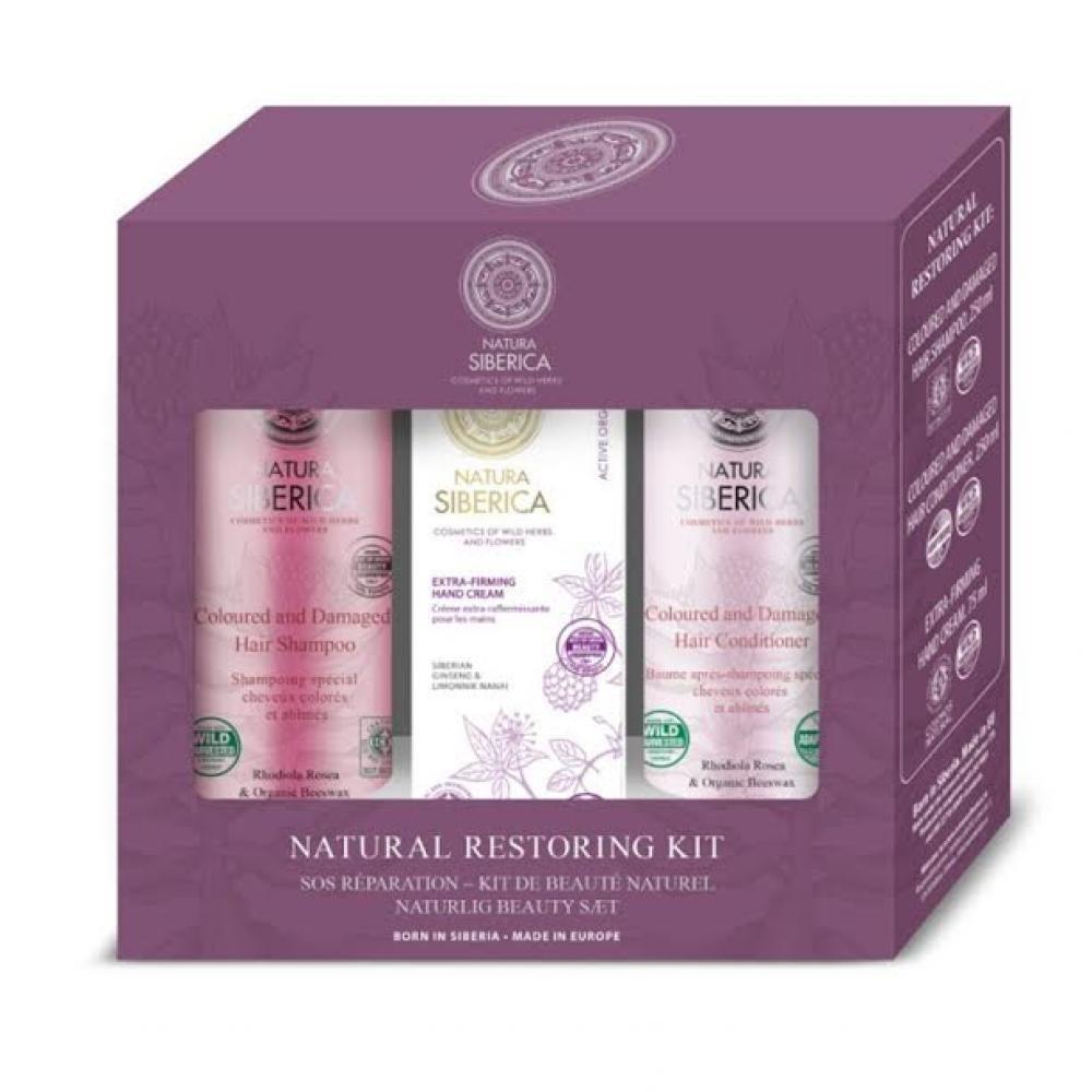 Natura Siberica Sada přirozené obnovy šampon 250 ml + kondicionér 250 ml + krém na ruce 75 ml dárková sada