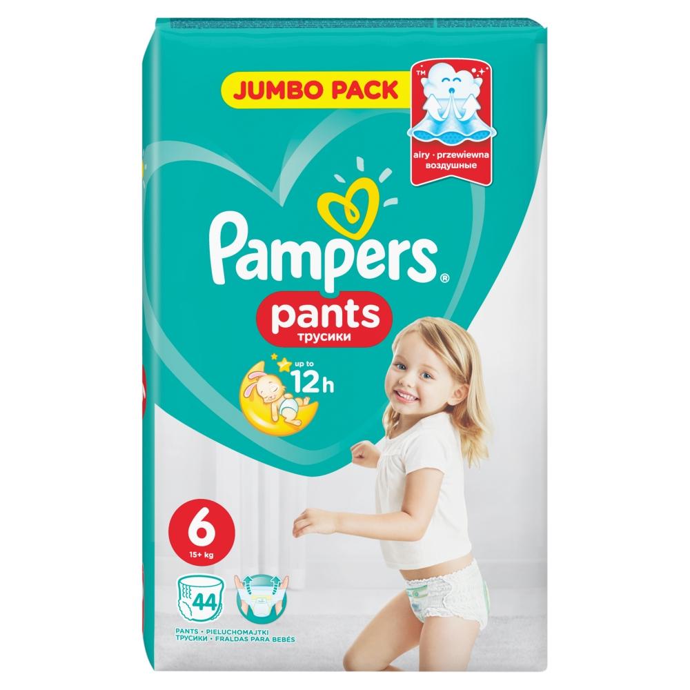 PAMPERS Pants 6 EXTRA LARGE 16+ kg 44 kusů + Dárek PAMPERS Vlhčené ubrousky Sensitive 56 kusů ZDARMA