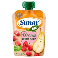 SUNAR Kapsička 100% ovoce Hruška a malina BIO 100 g