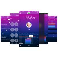 Mobilní aplikace zobrazuje údaje ze snímače tělesné teploty Thermeeno