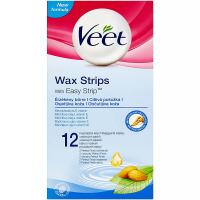 VEET Voskové pásky s proužkem pro snadné uchopení na nohy a tělo pro citlivou pokožku 12 ks
