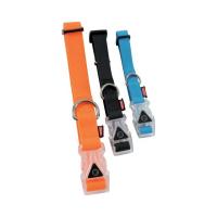 ZOLUX Svítící obojek pro psa SILICONE 20 mm/38-50 cm modrá